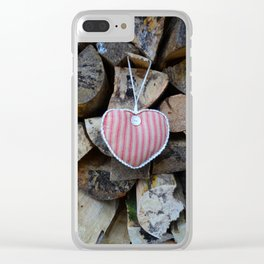 Valentine fabric heart against natural logs Clear iPhone Case