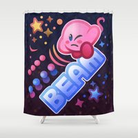 kirby Shower Curtains featuring Kirby Beam by likelikes