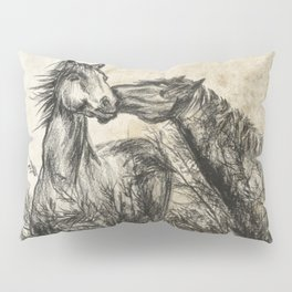 Kiss_Charcoal drawing vintage paper Pillow Sham