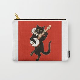 Black Cat for Halloween with Red Carry-All Pouch
