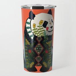 panda orange Travel Mug