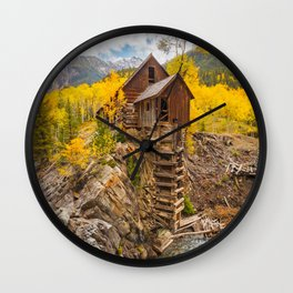 CRYSTAL MILL AUTUMN COLORADO LANDSCAPE PHOTOGRAPHY Wall Clock
