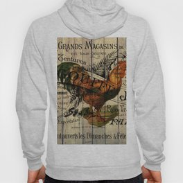 vintage typography barn wood shabby french country poulet chicken rooster Hoody