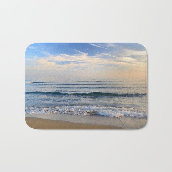 """""""Serenity sea"""". Waves. At sunset Bath Mat"""