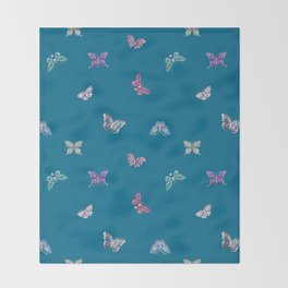 Christmas jeweled butterflies on teal, butterfly, jewels, precious, butterflies, new year, t Throw Blanket