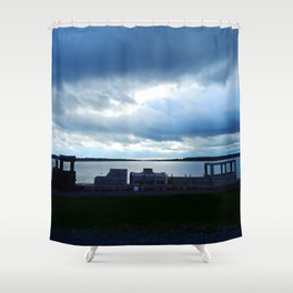 Wooden Train by the Shore in Georgetown PEI Shower Curtain