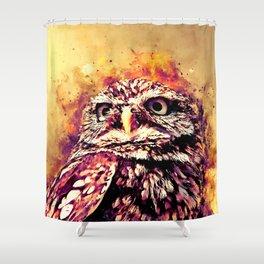 owl portrait 5 wslsh Shower Curtain
