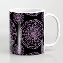 Rose Pink Floral Lace Mandala on Purple Coffee Mug