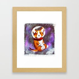 Space Corgi - Pink Framed Art Print