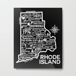 Rhode Island Map  Metal Print