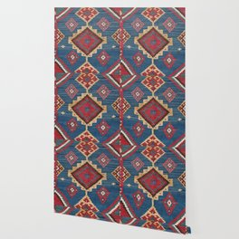 Vintage Woven Kilim II // 19th Century Colorful Royal Blue Yellow Authentic Classic Ornate Accent Pa Wallpaper
