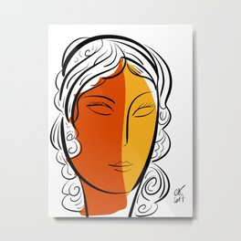 Minimal Pop Portrait in Orange and Yellow Illustration Metal Print