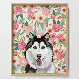 Husky floral pet portrait art print and dog gifts Serving Tray