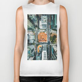 Aerial Cityscape View (Color) Biker Tank