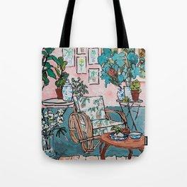 Rattan Chair in Jungle Room Tote Bag