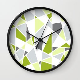 Geometric Pattern in Lime, Yellow, Gray Wall Clock