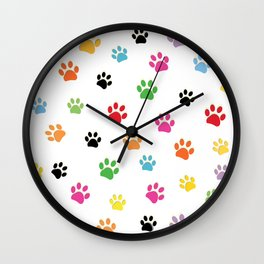 Colorful colored paw prints Wall Clock