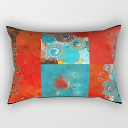 Swirly Red and Turquoise Mosaic Rectangular Pillow