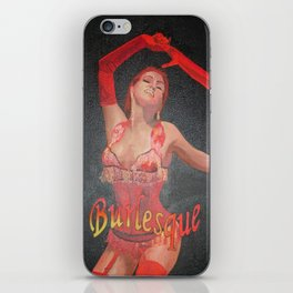 Burlesque Dancer Wearing Vintage Red Corset and Gloves  iPhone Skin