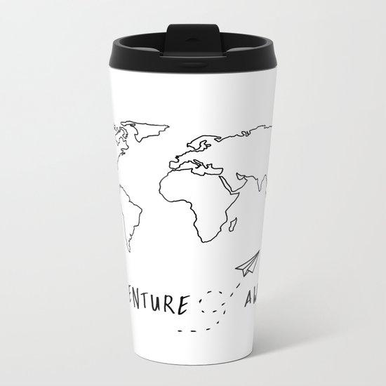 Adventure Map on White Metal Travel Mug