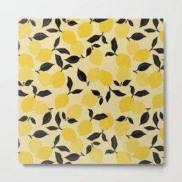 Seamless Citrus Pattern / Lemons Metal Print