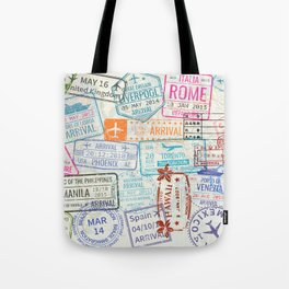 Vintage World Map with Passport Stamps Tote Bag