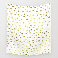 polkadot Wall Tapestries featuring Gold Dots by Laura Maria Designs