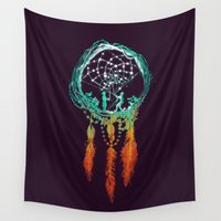 night Wall Tapestries featuring Dream Catcher (the rustic magic) by Picomodi