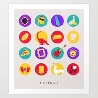 friends tv Art Prints featuring Friends / TV / Things by I'm Emma R