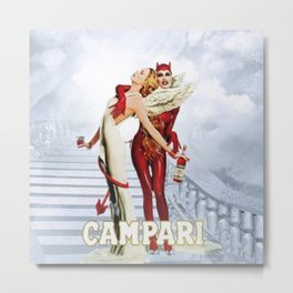 Vintage Campari Italian Bitters Angel and Devil - Stairway to Heaven Advertisement Poster Metal Print