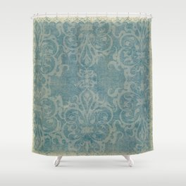 Antique rustic teal damask fabric Shower Curtain