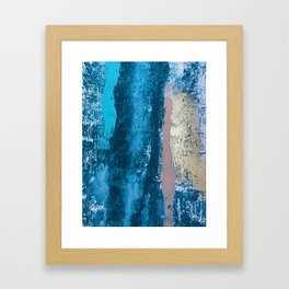 A river runs through it: a minimal, abstract mixed media piece in blue and gold by Alyssa Hamilton Framed Art Print