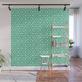 Jade and White Greek Key Pattern Wall Mural