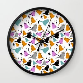 little cats pattern. Little colorful kittens. Funny animals. Wall Clock