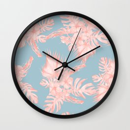 Tropical Palm Leaves Hibiscus Coral Blue Wall Clock