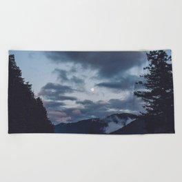 quietly, moon Beach Towel
