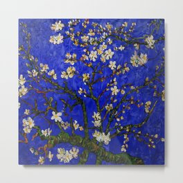 Abstract Daisy with Blue Background Metal Print