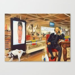 Shakespeare watches xfactor in a famous Swedish retail outlet in Stratford Canvas Print