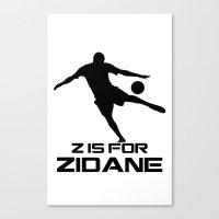 zidane Canvas Prints featuring Zidane White by Sport_Designs