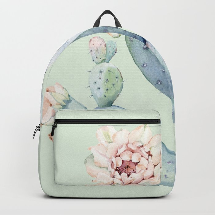 Prettiest Mint Cactus Rose Backpack