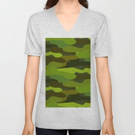 Camo-licious Collection: Wild Jungle Green Camouflage Pattern Unisex V-Neck