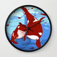 killer whale Wall Clocks featuring killer whale by Elettra