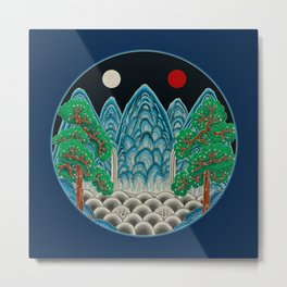 Five peaks of the Sun and Moon in Winter: King's painting Type B (Minhwa-Korean folk art) Metal Print