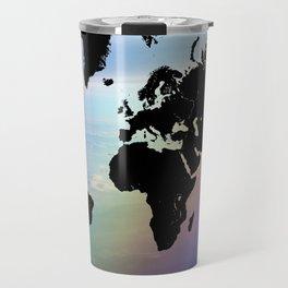 Rainbow Ocean World Map Travel Mug