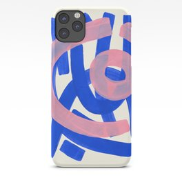 Tribal Pink Blue Fun Colorful Mid Century Modern Abstract Painting Shapes Pattern iPhone Case