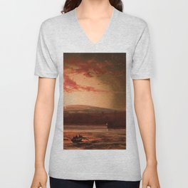 Eruption of Mauna Loa, Hilo Bay, Hawaii landscape painting  by Charles Furneaux Unisex V-Neck