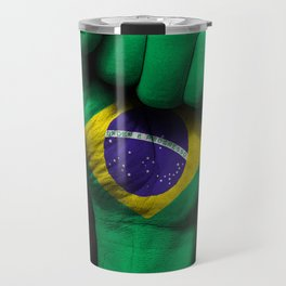 Brazilian Flag on a Raised Clenched Fist Travel Mug