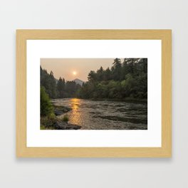 Fire Sunrise on McKenzie River Framed Art Print