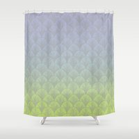 hologram Shower Curtains featuring Hologram Scales by michiko_design