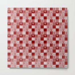 Jungle Friends Shades of Burgundy Cheater Quilt Metal Print
